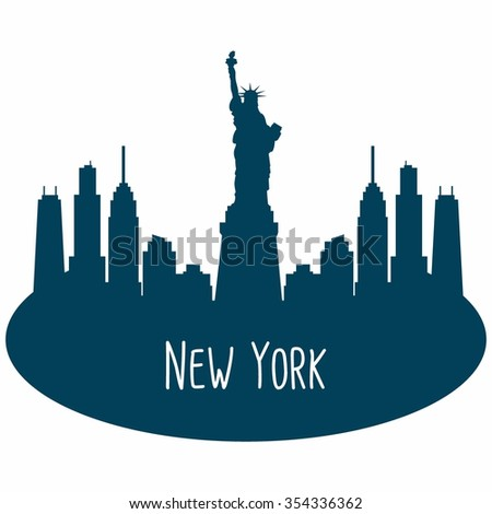New York city skyline detailed silhouette. Vector illustration  - stock vector