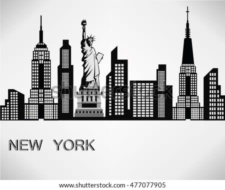 new york city skyline detailed silhouette stock vector 2018 rh shutterstock com new york city vector new york city vector free download
