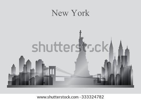 New York city skyline silhouette in grayscale, vector illustration - stock vector