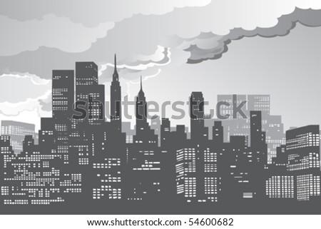 new york city skyline silhouette night vector - stock vector