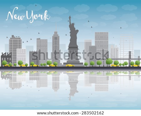 New York city skyline with grey building and blue sky. Vector illustration. Business travel and tourism concept with place for text. Image for presentation, banner, placard and web site