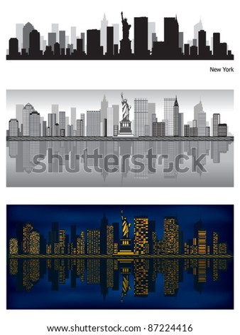 New York city skyline with reflection in water - stock vector