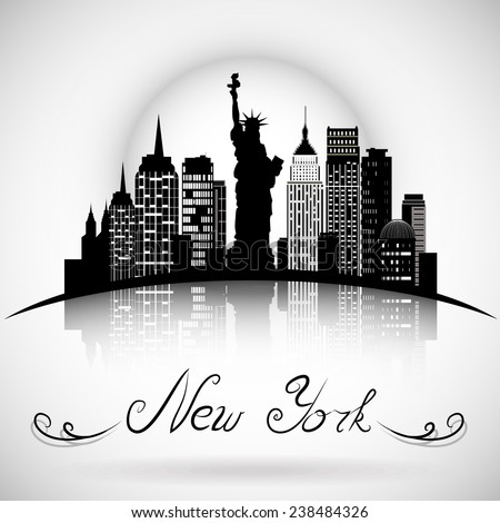 New York City skyline with reflection. Typographic Design - stock vector