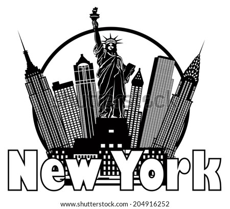 New York City Skyline with Statue of Liberty Black and White Circle Outline with Text Vector Illustration - stock vector