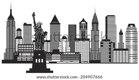 New York City Skyline with Statue of Liberty Black and White Outline Illustration Vector - stock vector