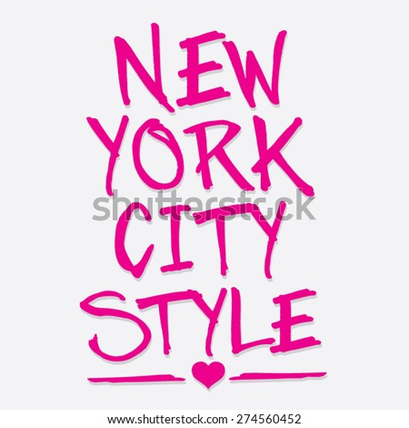 New York city style typography, t-shirt graphics, vectors, girl  - stock vector