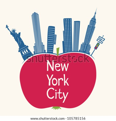 New York City - The Big Apple Sign - stock vector