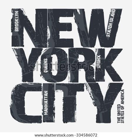 New York City Typography Graphics, Brooklyn T-shirt design. vector illustration - stock vector