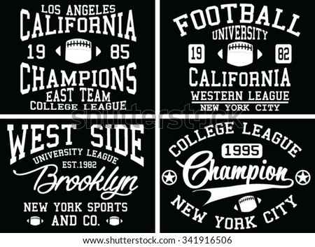 New York City Typography Graphics logo set, T-shirt Printing Design. NYC original wear, Vintage Print for sportswear apparel - vector illustration - stock vector