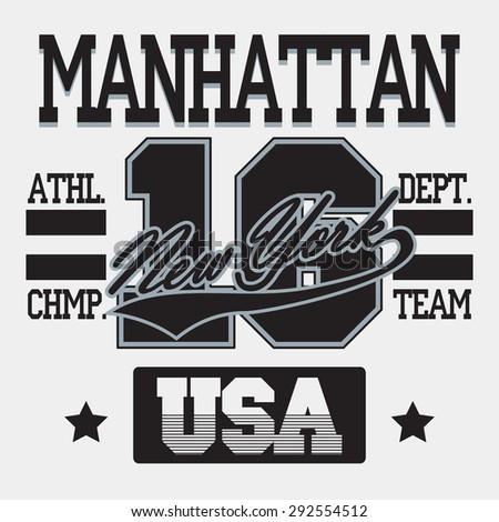 New York City Typography Graphics, Manhattan T-shirt Printing Design; USA original wear, Vintage Print for sportswear apparel - vector illustration - stock vector