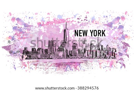 New York city, vector drawing in sketch style in colorful grunge and watercolor shape. Very useful for poster, banner, travel - stock vector