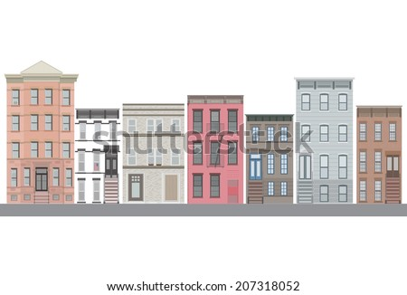 New york city vector set house. Panorama city background. Skyline urban border collection. - stock vector