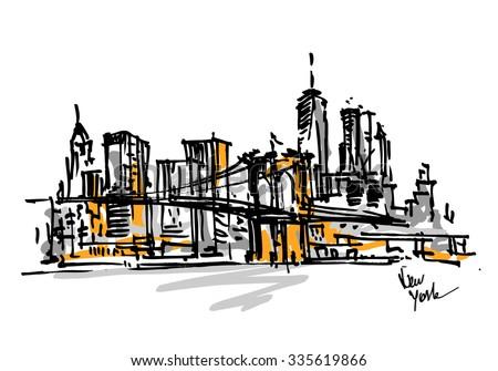 New York city view. City skyline hand drawn, sketch - stock vector