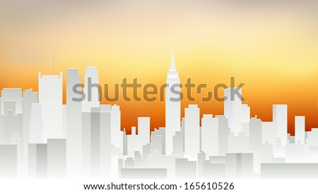 new york city white silhouette and evening yellow sky (vector) - stock vector