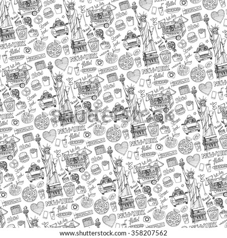 Seamless Pattern Garbage Hand Drawn Elements Stock Vector