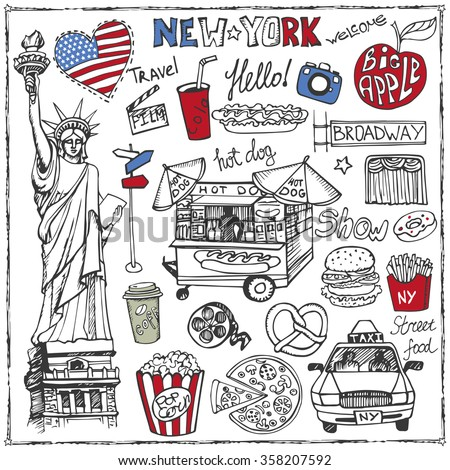 New York .Doodle fast food  set.American symbols in hand drawn sketch.Vector icons,sign,lettering.Vintage Illustration,background.Statue Of Liberty,taxi,food stand isolated object - stock vector