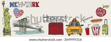 New York Doodle  panorama set.Vintage American travel vector symbols.Hand drawn landmark sketch.Skyline Illustration,background.Statue Of Liberty,New York taxi,Broadway.Vector - stock vector