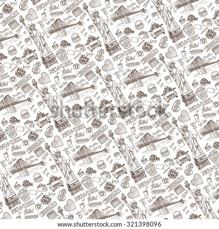New York Doodle pattern background.American,USA travel symbols in hand drawn sketch.Vector icons,sign of landmark,Statute of liberty,food,lettering,retro Illustration,backdrop.Outline design template. - stock vector