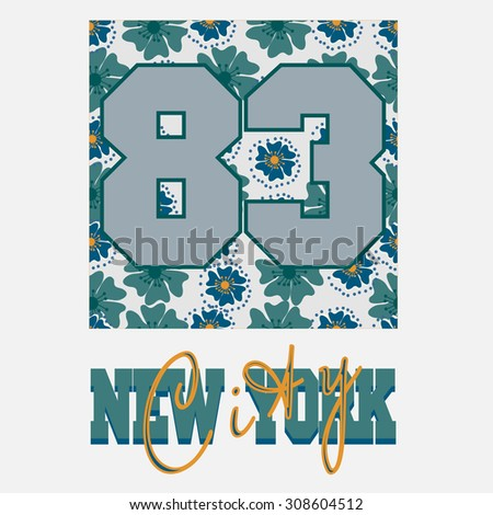 New York fashion graphic, floral heart shape with number, City sport t-shirt typography design, tshirt print apparel  - vector illustration - stock vector