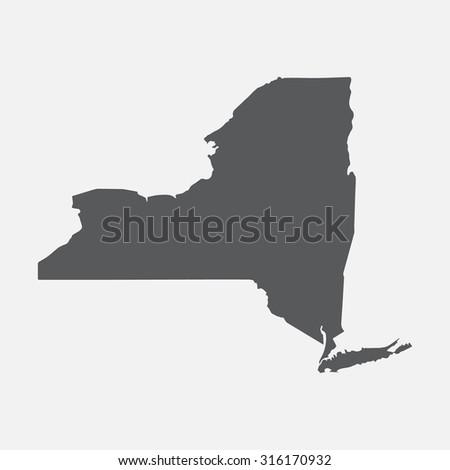New York grey state border map. - stock vector