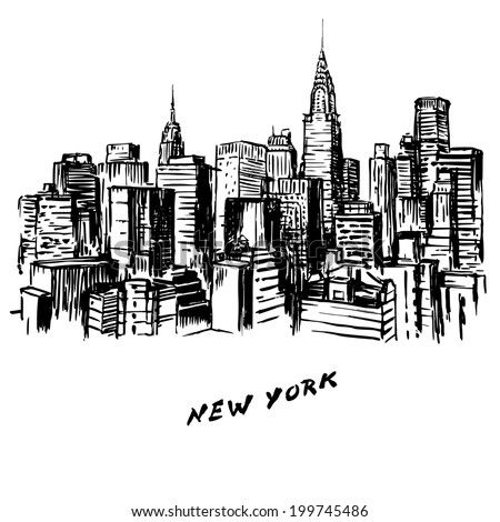 New York - hand drawn illustration - stock vector