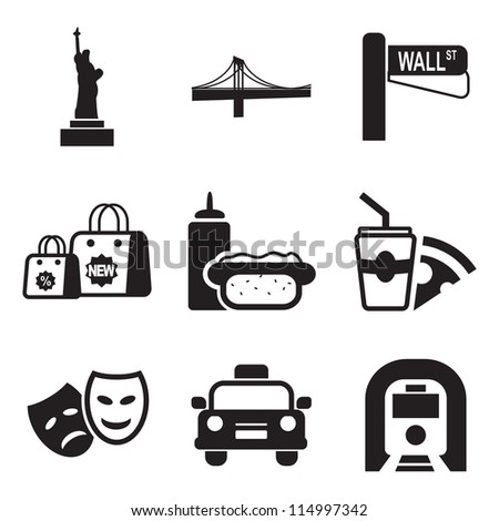 New York Icons - stock vector