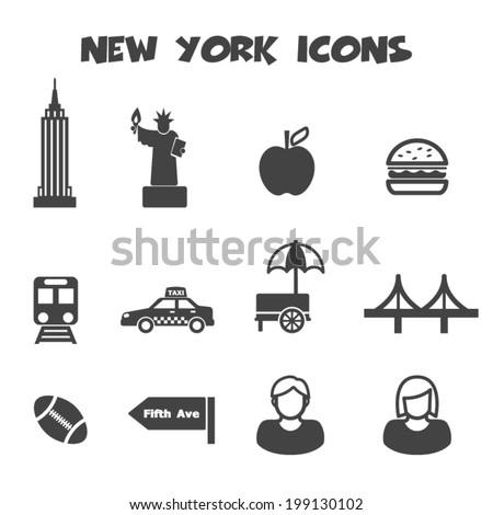 new york icons, mono vector symbols - stock vector