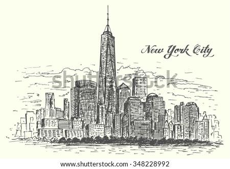 New York Manhattan hand drawn isolated vector illustration - stock vector