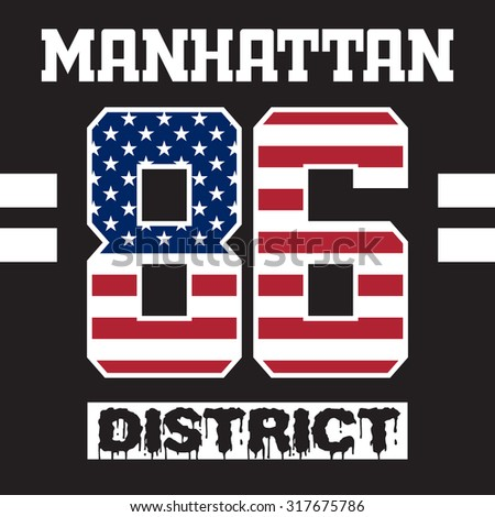 New York Manhattan typography with american flag. Sport fashion graphics. NYC original wear. T-shirt Printing Design for sportswear apparel. Concept in vintage style for print production. Vector