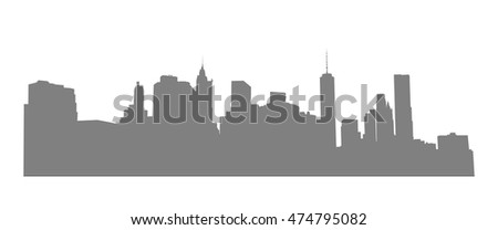 New York, Manhattan - view from Brooklyn. Vector  NYC background. Gray cityscape.