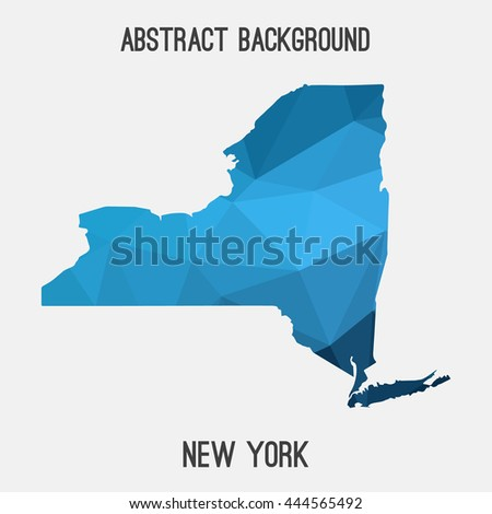 New York map in geometric polygonal,mosaic style.Abstract tessellation,modern design background. Vector illustration EPS8 - stock vector