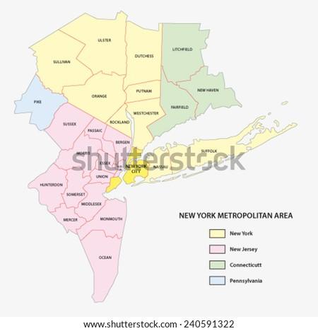 new york metropolitan area map - stock vector