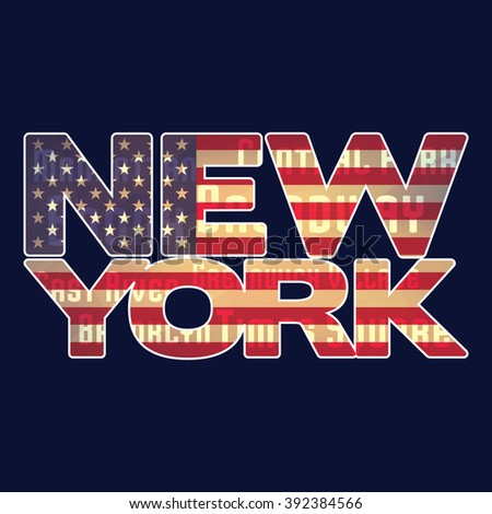 New York. NY emblem with american flag and 'New York' typography on a dark blue background. New York label for t-shirt. New York. New York. Graphic vector design with New York. CMYK colors - stock vector