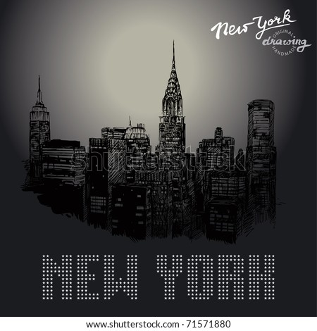 new york-original drawing - stock vector