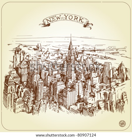 new york-original hand made drawing - stock vector