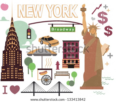 NEW YORK PRINT - stock vector