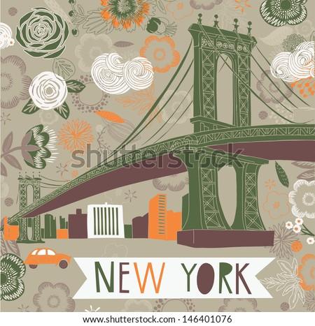 New York Print Design - stock vector