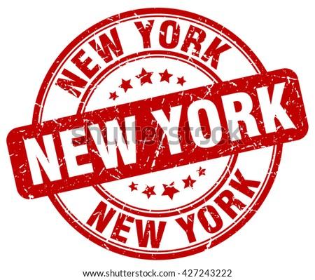 New York red grunge round vintage rubber stamp.New York stamp.New York round stamp.New York grunge stamp.New York.New York vintage stamp. - stock vector