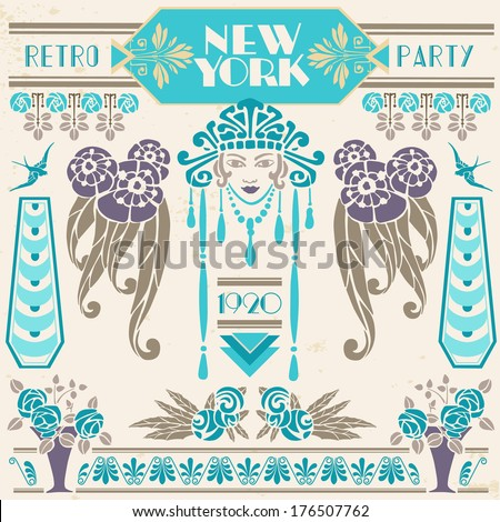 New York Retro Party 1920 - stock vector