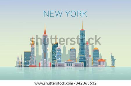 New York skyline - stock vector