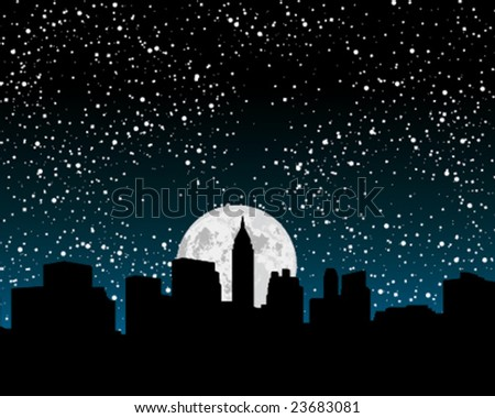 New York skyline at night - stock vector