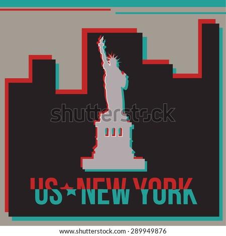 New York skyline Glitch effect. Vector illustration - stock vector