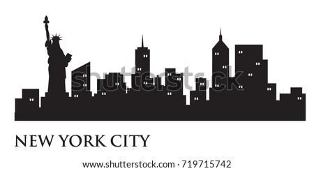 new york skyline silhouette skyline vector stock vector 719715742 rh shutterstock com new york city skyline vector new york skyline silhouette vector free