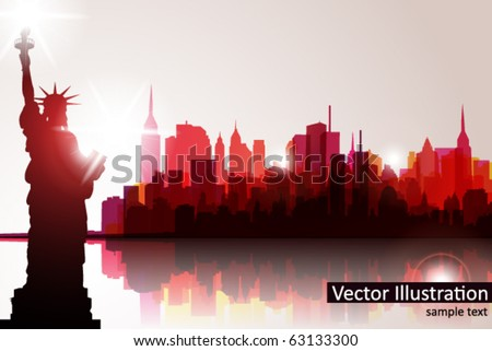 New york Skyline. Vector - stock vector