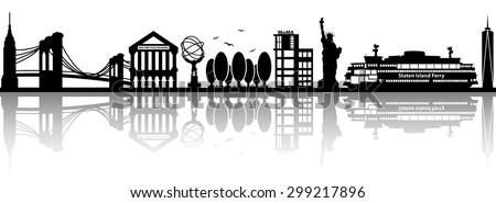 new york skyline vector silhouette - stock vector