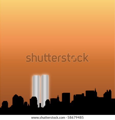 New York Skyline with the Twin Towers - stock vector