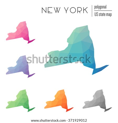 New York state map in geometric polygonal style. Set of New York state maps filled with abstract mosaic, modern design background. Multicolored state map in low poly style - stock vector