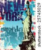 New York Statue of Liberty in a Grunge Style Layout - stock vector