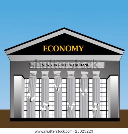 New York Stock Exchange with columns crumbling - stock vector