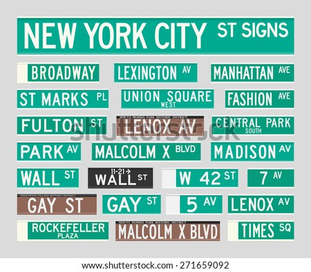 New York Street Signs - stock vector